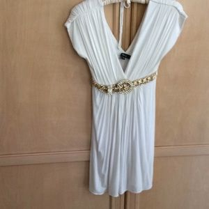 Sky Brand Gorgeous White Dress w/Exquisite Belt